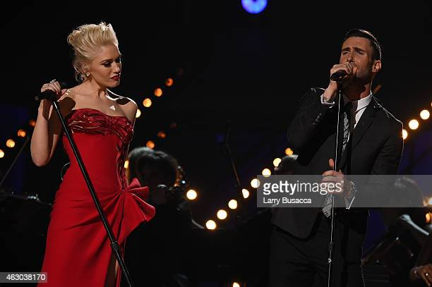 Singers Gwen Stefani and Adam Levine perform 'My Heart Is Open' onstage during The 57th Annual GRAMMY Awards at the STAPLES Center on February 8 2015...