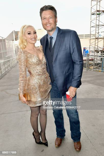 Singers Gwen Stefani and Blake Shelton attend the 2017 Billboard Music Awards at TMobile Arena on May 21 2017 in Las Vegas Nevada