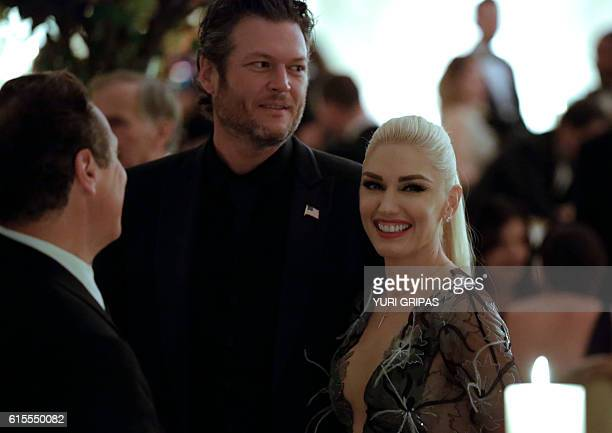 Singers Gwen Stefani and Blake Shelton attend the State Dinner for Italian Prime Minister Matteo Renzi at the White House in Washington on October 18...
