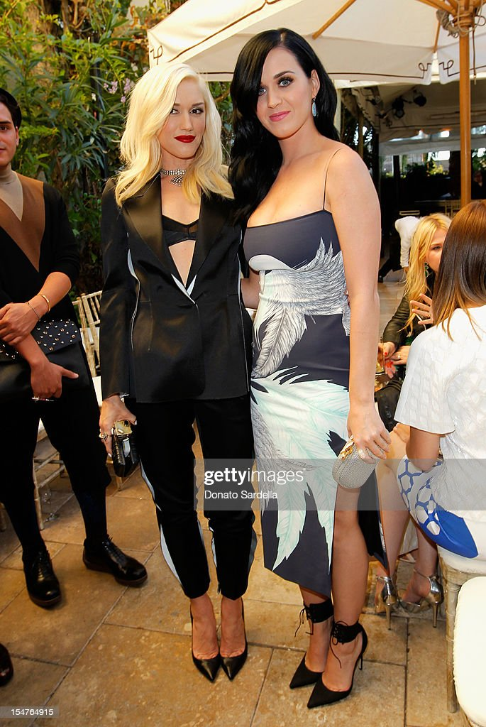 Singers Gwen Stefani and Katy Perry attend CFDA/Vogue Fashion Fund Event hosted by Lisa Love and Mark Holgate and sponsored by Audi, Beauty.com, American Express, and J Brand at Chateau Marmont on October 25, 2012 in Los Angeles, California.