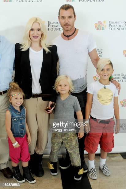 Singers Gwen Stefani Gavin Rossdale Stella Stefani Zuma Rossdale and Kingston Rossdale arrive at the Elizabeth Glaser Pediatric AIDS Foundation's...