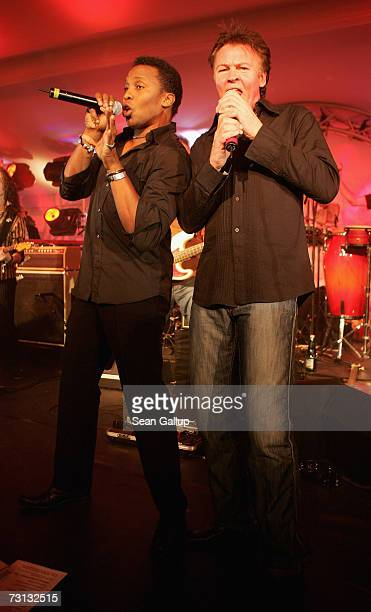 Singers Haddaway and Paul Young perform at the Hahnenkamm slalom races January 27, 2007 in Kitzbuehel, Austria.