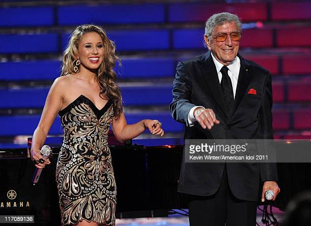 Singers Haley Reinhart and Tony Bennett perform onstage during Fox's American Idol 2011 finale results show held at Nokia Theatre LA Live on May 25...