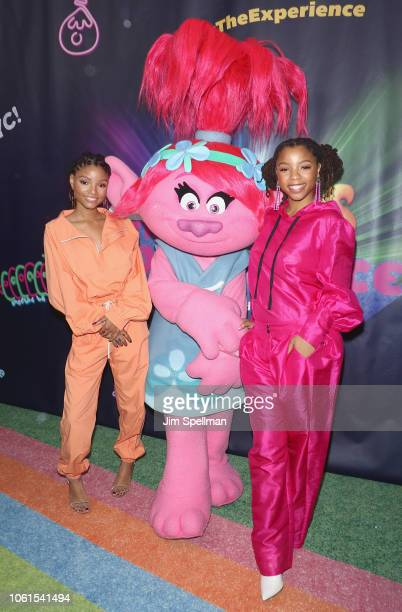 Singers Halle Bailey and Chloe Bailey of Chloe x Halle attend the Dreamworks Trolls The Experience opening at Trolls The Experience on November 14...