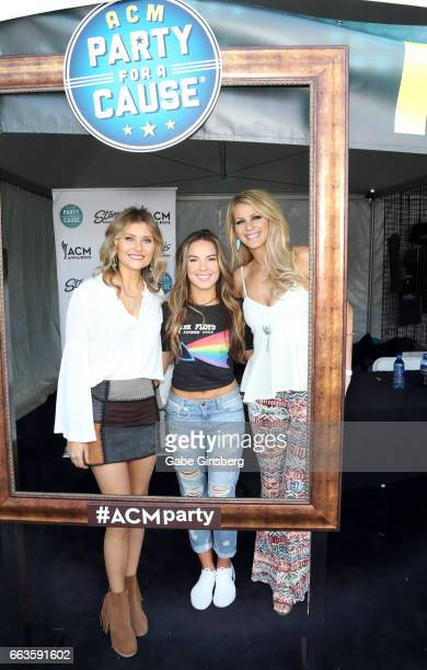 Singers Hannah Mulholland Naomi Cooke and Jennifer Wayne of Runaway June at the ACM Party For A Cause Tailgate Party on April 1 2017 in Las Vegas...
