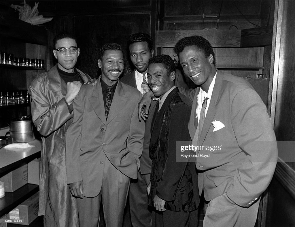 The Five Heartbeats (Harry J. Lennix, Robert Townsend, Leon Robinson, Tico Wells and Michael Wright), poses for photos at Orly's Restaurant in Chicago, Illinois in JANUARY
