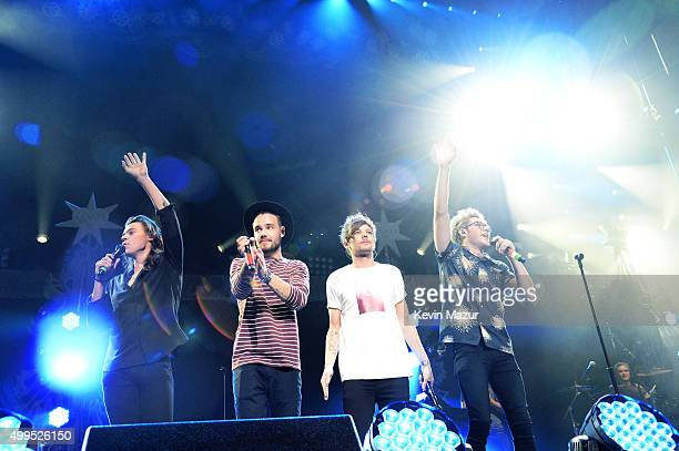 Singers Harry Styles Louis Tomlinson Liam Payne and Niall Horan of musical group One Direction performs onstage during 1061 KISS FM's Jingle Ball...