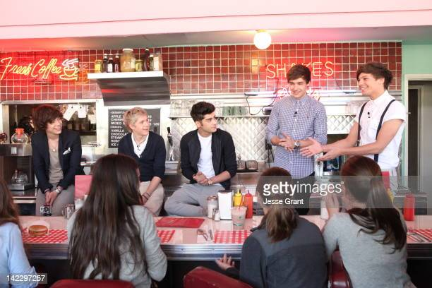 Singers Harry Styles, Niall Horan, Zayn Malik, Liam Payne and Louis Tomlinson of One Direction attends the VEVO GO Show Presented by Starburst on...