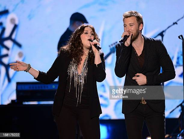 Singers Hillary Scott and Charles Kelley of Lady Antebellum perform onstage during the 2012 American Country Awards at the Mandalay Bay Events Center...