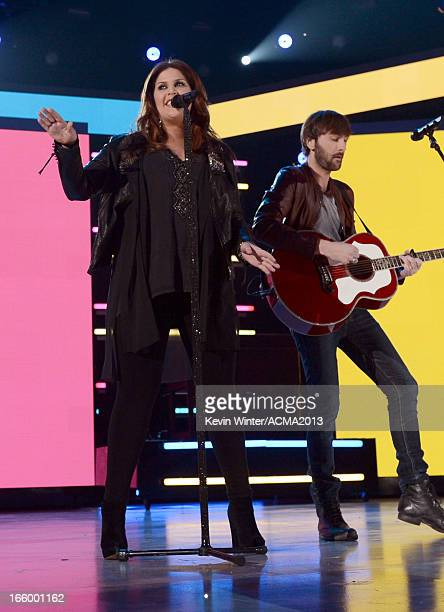 Singers Hillary Scott and Dave Haywood of Lady Antebellum perform onstage during the 48th Annual Academy of Country Music Awards at the MGM Grand...