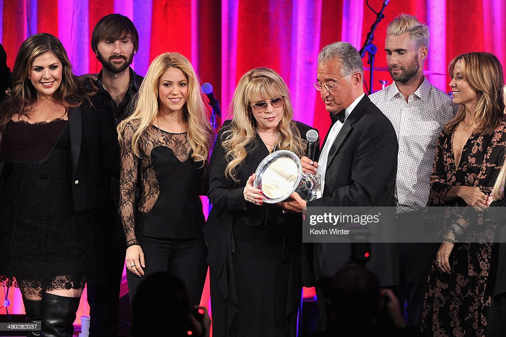 Singers Hillary Scott, Dave Haywood, Shakira, Del Bryant, BMI President, singers Adam Levine of Maroon 5 and Sheryl Crow present the 2014 BMI Icon Award to singer-songwriter Stevie Nicks (center) onstage at the 62nd annual BMI Pop Awards at the Regent Beverly Wilshire Hotel on May 13, 2014 in Beverly Hills, California.