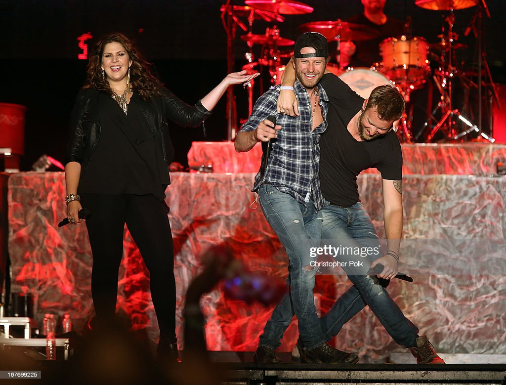 Singers Hillary Scott, Dierks Bentley, and Charles Kelley of Lady Antebellum perform onstage during 2013 Stagecoach: California's Country Music Festival held at The Empire Polo Club on April 27, 2013 in Indio, California.