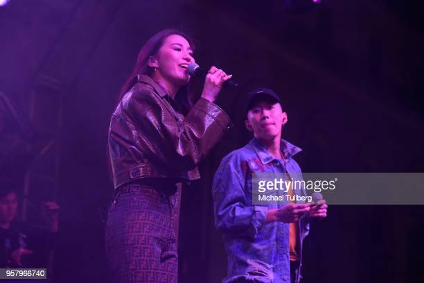 Singers Hoody and Jay Park perform at Identity LA 2018 at Los Angeles Grand Park on May 12 2018 in Los Angeles California