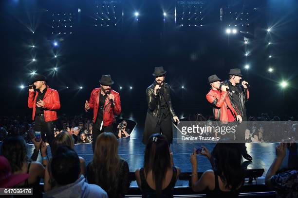 Singers Howie Dorough AJ McLean Kevin Richardson Brian Littrell and Nick Carter of the Backstreet Boys perform during the launch of the group's...