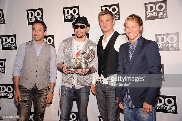 Singers Howie Dorough AJ McLean Nick Carter and Brian Littrell of the pop band Backstreet Boys attend DoSomethingorg's celebration of the 2010 Do...