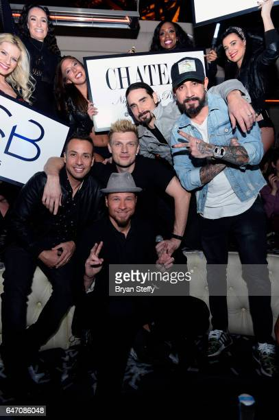 Singers Howie Dorough Brian Littrell Nick Carter Kevin Richardson and AJ McLean of the Backstreet Boys attend the after party of the debut of the...