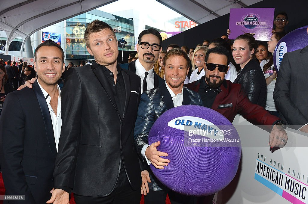 Singers Howie Dorough, Nick Carter, Kevin Richardson, Brian Littrell, and A.J. McLean of Backstreet Boys attend the 40th American Music Awards held at Nokia Theatre L.A. Live on November 18, 2012 in Los Angeles, California.
