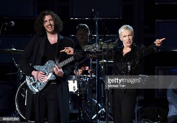 Singers Hozier and Annie Lenox perform onstage during The 57th Annual GRAMMY Awards at STAPLES Center on February 8 2015 in Los Angeles California