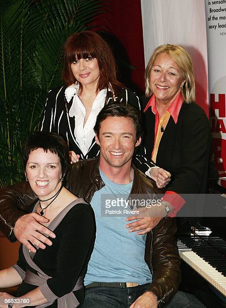 Singers Hugh Jackman Angela Toohey Chrissy Amphlett and Colleen Hewitt pose during a press conference announcing a national tour of the Broadway hit...