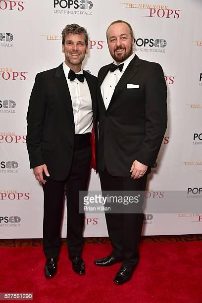 Singers Hugh Panaro and John OwenJones attend the New York Pops 33rd Birthday Gala Dinner Dance at Mandarin Oriental New York on May 2 2016 in New...