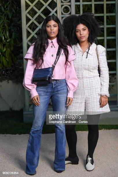 Singers Ibeyi Naomi Diaz and LisaKainde Diaz attend the Chanel Haute Couture Spring Summer 2018 show as part of Paris Fashion Week January 23 2018 in...