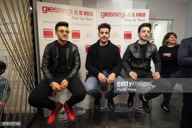 Singers Il Volo inaugurated the Giessegi Store a new sales experience centered on singlebrand furniture In photo from left Piero Barone Ignazio...