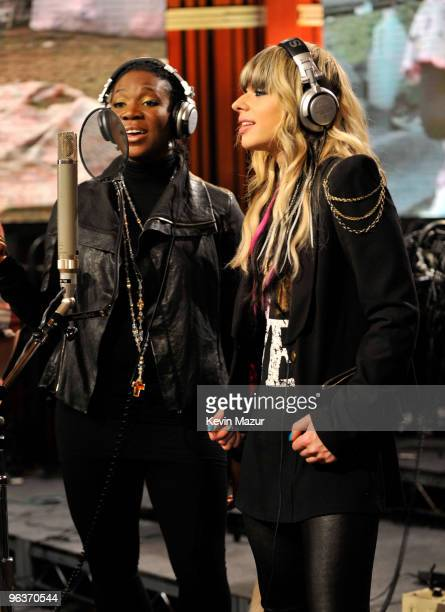 HOLLYWOOD FEBRUARY 01 Singers IndiaArie and Orianthi perofmr at the 'We Are The World 25 Years for Haiti' recording session held at Jim Henson...
