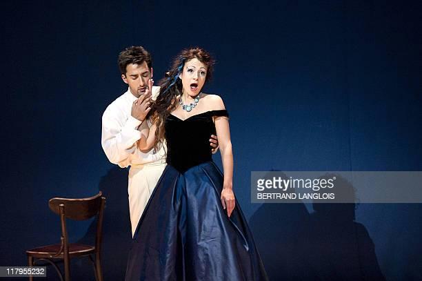 Singers Irina Lungu featuring Violetta Valery and Charles Castronovo featuring Alfredo Germont perform Italian composer Giuseppe Verdi's opera La...