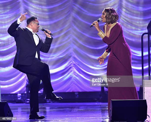 Singers Israel Houghton and Yolanda Adams perform onstage during the 30th annual Stellar Gospel Music Awards at the Orleans Arena on March 28 2015 in...