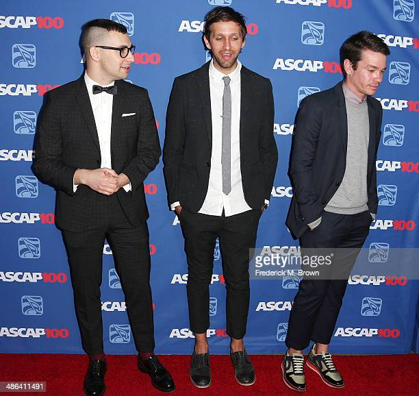 Singers Jack Antonoff Andrew Dost and Nate Reuss of the group fun attend the 31st Annual ASCAP Pop Music Awards at The Ray Dolby Ballroom at the...