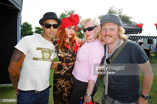Singers Jade Jones and Paloma Faith Vivienne Holloway and comedian Leigh Francisare seen in the Ray Ban area during day two of the Isle of Wight...