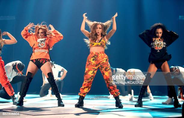 Singers Jade Thirlwall Jesy Nelson and LeighAnne Pinnock of Little Mix perform onstage at Nickelodeon's 2017 Kids' Choice Awards at USC Galen Center...