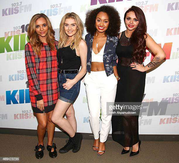 Singers Jade Thirlwall Perrie Edwards LeighAnne Pinnock and Jesy Nelson of Little Mix pose before performing an acoustic set at Clear Channel Media...