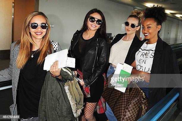 Singers Jade Thirwall Jesy Nelson Perrie Edwards and LeighAnne Pinnock of Little Mix arrive at Narita International Airport on January 22 2014 in...