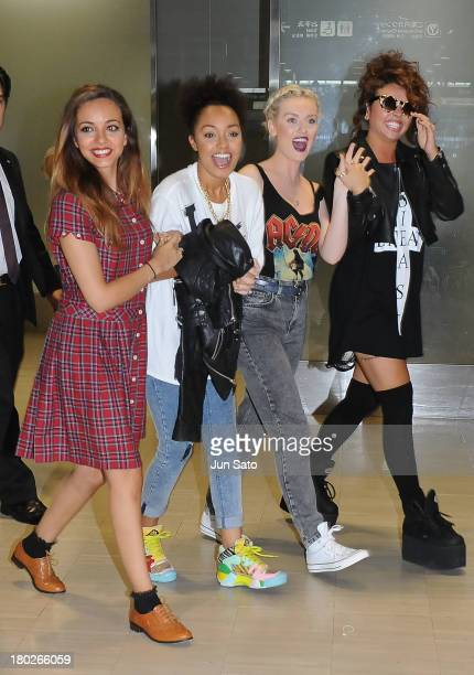 Singers Jade Thirwall LeighAnne Pinnock Perrie Edwardsa and Jesy Nelson of Little Mix arrive arrival at Narita International Airport on September 11...