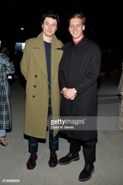 Singers James Bay and George Ezra wearing Burberry at the Burberry February 2018 show during London Fashion Week at Dimco Buildings on February 17...