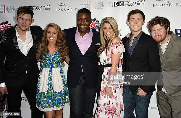 Singers James Durbin Haley Reinhart Jacob Lusk Lauren Alaina Scotty McCreery and Casey Abrams attend the 5th annual BritWeek champagne launch party...