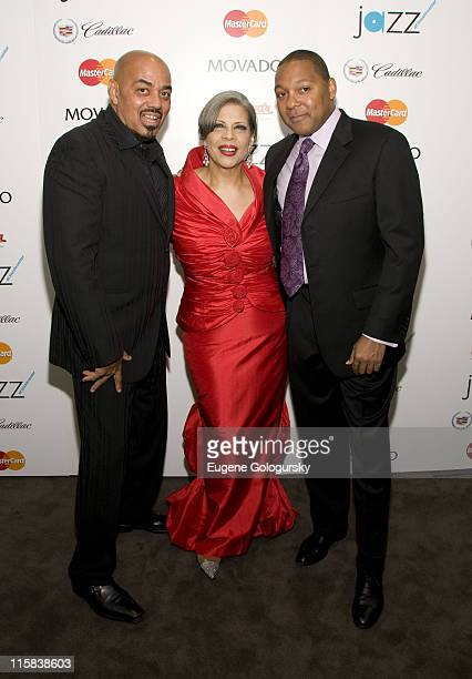 Singers James Ingram and Patti Austin and Musician Wynton Marsalis attend The 2008 Jazz at Lincoln Center Spring Swing Gala May 28 2008 in New York...