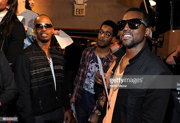 COVERAGE* Singers Jamie Foxx Kid Cudi and Kanye West attend the We Are The World 25 Years for Haiti recording session held at Jim Henson Studios on...