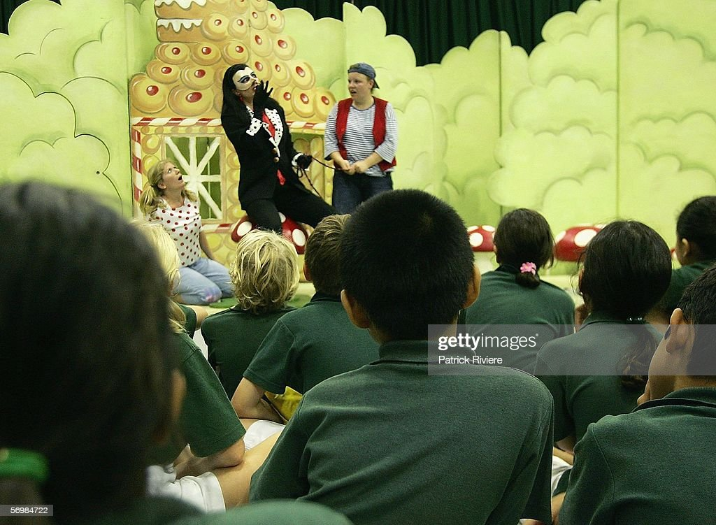 Singers Jane Parkin playing the role of a Witch (L) and Louise Watts playing the role of Hansel perform in front of the Crown Street Primary school children during the OzOpera tour launch for Humperdinck's 'Hansel and Gretel' at The Opera Centre on March 3, 2006 in Sydney, Australia. Thousands of primary school children will see opera for the first time when Opera Australia's OzOpera heads off to perform its highly popular 50-minute version of Humperdinck's opera Hansel and Gretel in primary schools all over New South Wales.