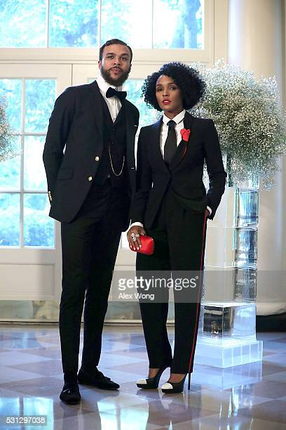 Singers Janelle Monae and Jidenna Mobisson arrive at a Nordic State Dinner May 13 2016 at the White House in Washington DC President Barack Obama and...