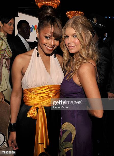 BEVERLY HILLS CA FEBRUARY 09 Singers Janet Jackson and Fergie during the 2008 Clive Davis PreGRAMMY party at the Beverly Hilton Hotel on February 9...