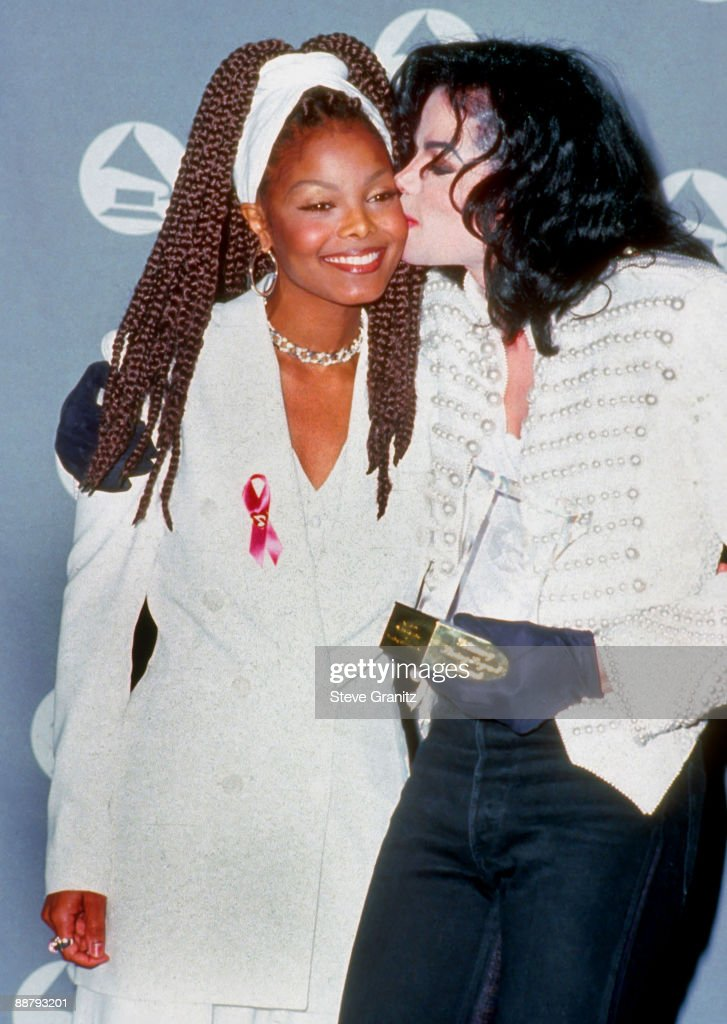 Singers Janet Jackson and Michael Jackson at the The 35th Annual GRAMMY Awards held at the Shrine Auditorium on February 24, 1993 in Los Angeles, California.