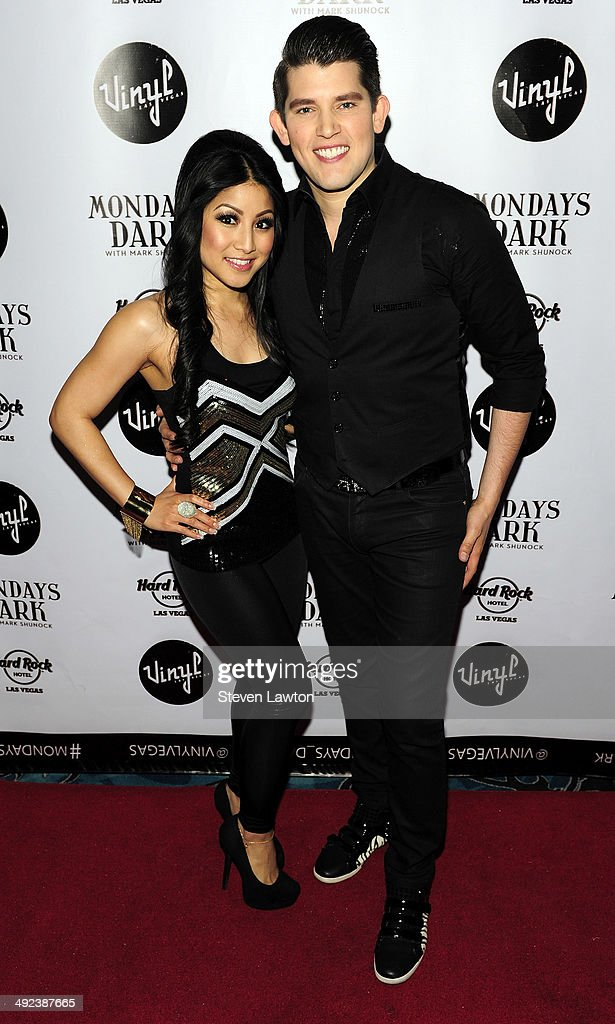 Singers Jasmine Trias (L) and Ben Stone arrive at 'Mondays Dark With Mark Shunock' benefiting the NF Network at Vinyl inside the Hard Rock Hotel & Casino on May 19, 2014 in Las Vegas, Nevada.
