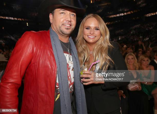 Singers Jason Aldean and Miranda Lambert attend the 52nd Academy Of Country Music Awards at TMobile Arena on April 2 2017 in Las Vegas Nevada