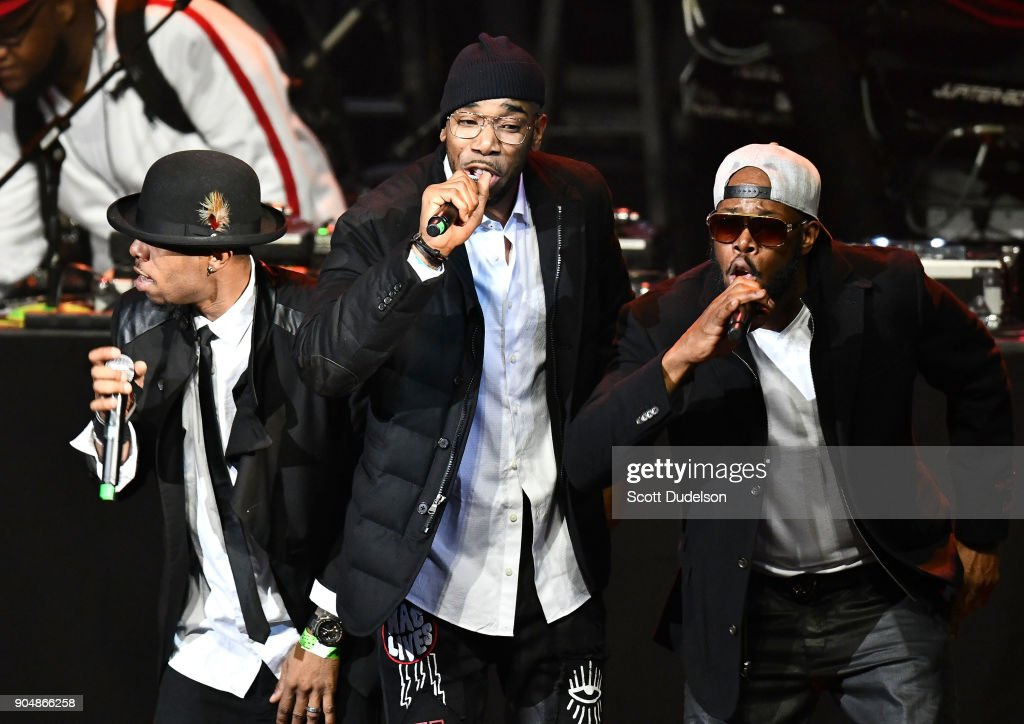 Singers Jason Dalyrimple, Brian Dalyrimple and Andre Dalyrimple of the R&B group Soul for Real perform onstage at Microsoft Theater on January 13, 2018 in Los Angeles, California.