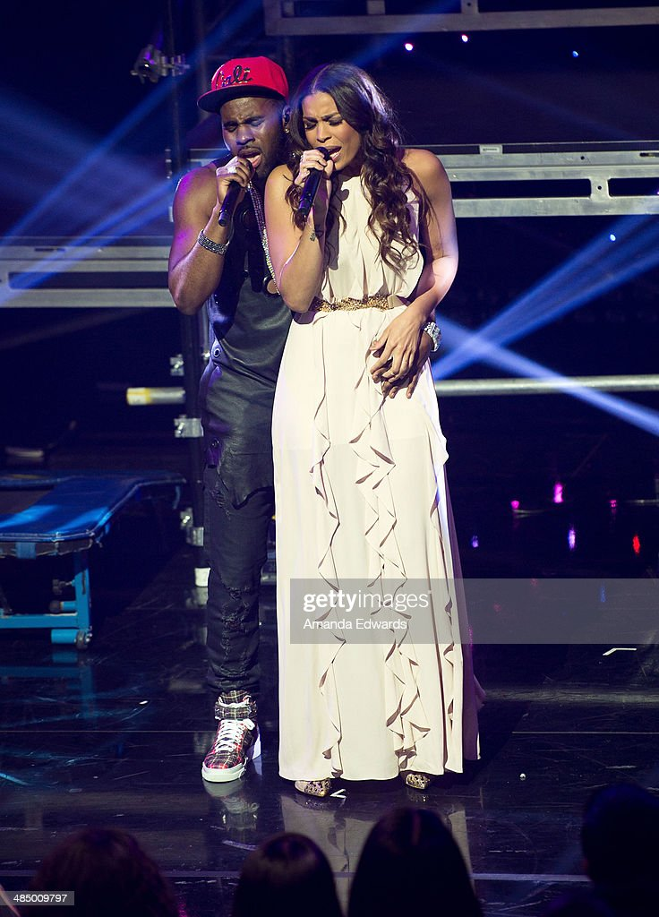 Singers Jason Derulo (L) and Jordin Sparks perform onstage at the Clear Channel iHeartRadio album release party for Jason Derulo's new album 'Talk Dirty' at the iHeartRadio Theater on April 15, 2014 in Burbank, California.
