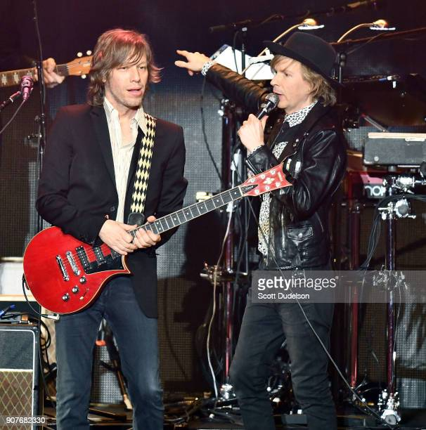 Singers Jason Falkner and Beck perform onstage during iHeartRadio ALTer EGO concert at The Forum on January 19 2018 in Inglewood California