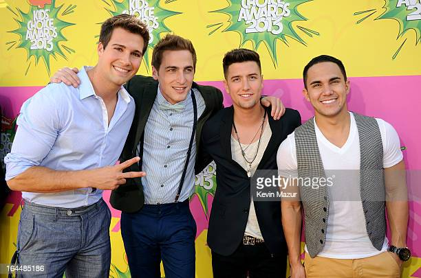 Singers Jason Maslow Kendall Schmidt Logan Henderson and Carlos Pena Jr of Big Time Rush arrive at Nickelodeon's 26th Annual Kids' Choice Awards at...