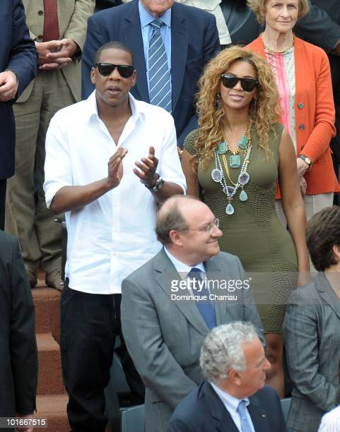 Singers JayZ and Beyonce Knowles are seen at the French Open on June 6 2010 in Paris France